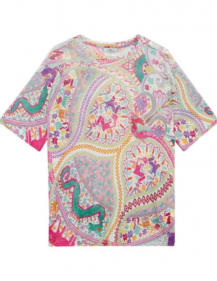 T-shirt en Jersey Effet Broderie avec motifs | Etro à Toulouse