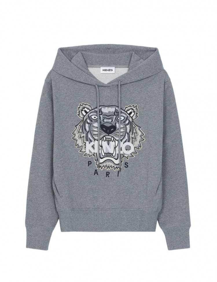 Sweatshirt à capuche Gris avec Tigre Brodé - Kenzo pour Femme à Toulouse
